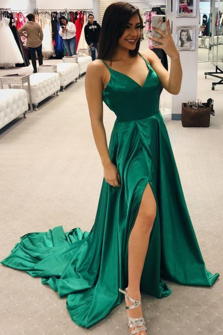 Simple Straps A-line Green Long Prom Dress, Sexy High Side Split Prom Party Dresses, Cheap Prom Dresses