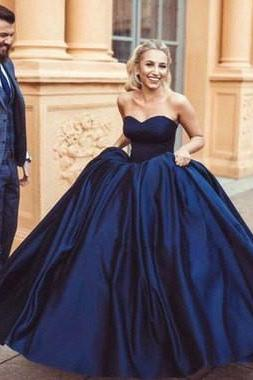 Glamorous Ball Gown Simple Prom Dresses Sweetheart, Navy Blue Prom Evening Dresses, Ball Gowns