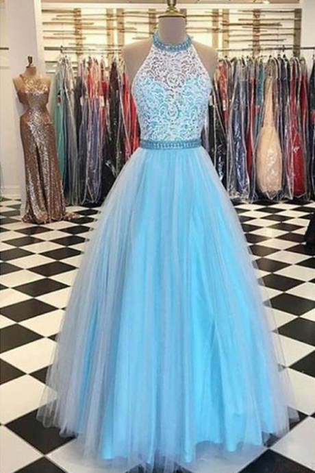 Prety Halter Long Lace Tulle Beding Light Blue Prom Dresses For Teens,Elegant Evening Dresses Graduation Dresses