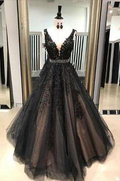 Ball Gown Sexy Black V Neck Wedding Dress Evening Dress Full Length Prom Dress