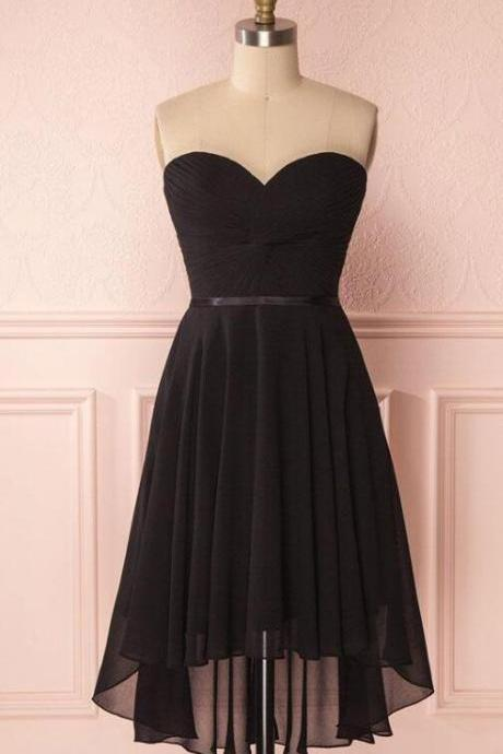 Strapless A Line Sexy Black Short Wedding Dress Evening Dress Knee Length Prom Dress