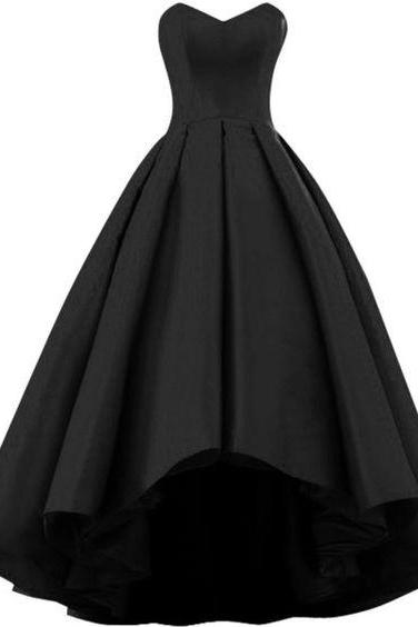 Strapless A Line Sexy Black Satin Wedding Dress Evening Dress Full Length Prom Dress
