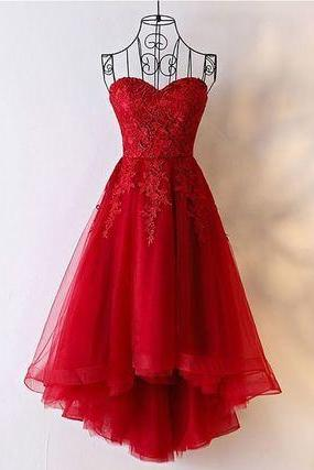 Lace Applique Red Strapless Off the shoulder Lace Up Bridesmaid Prom Dress Evening Dress Full Length Prom Dress