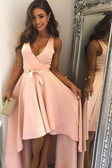 Deep V Neck Off the shoulder Lace Up Bridesmaid Prom Dress Evening Dress Full Length Prom Dress