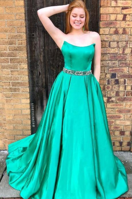 Green Strapless Long Bridesmaid Dress Party Dress Lace Up Prom Dress Evening Dress Prom Dress