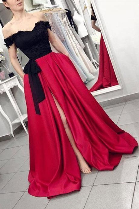Plus Size Sexy off the shouler Red Black Chiffon Long Wedding Dress Party Dress Prom Dress Evening Dress