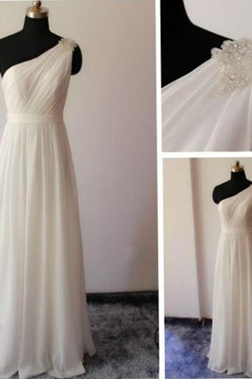 Custom Size One Shoulder Chiffon Wedding Dress Party Dress Prom Dress Evening Dress