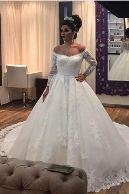 Custom Size Ball Gown Lace Applique Wedding Dress Bridal Gown