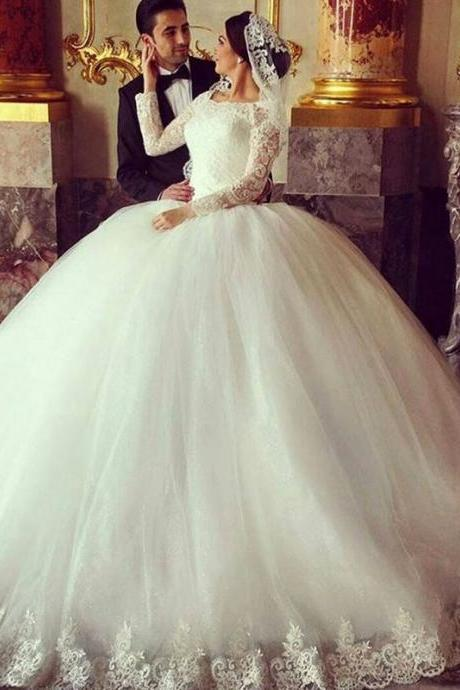 Custom White Long Sleeve Lace Applique Wedding Dress