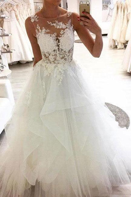 Custom Size A Line Lace Applique Wedding Dress Bridal Gown
