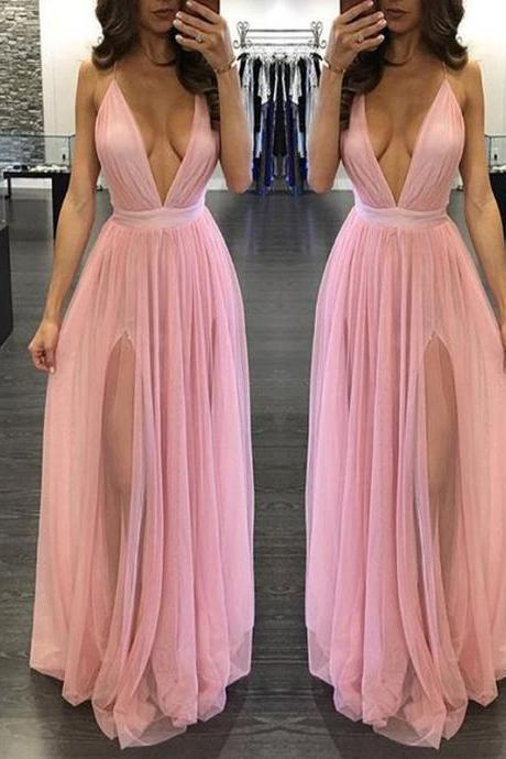 Deep V Neck Chiffon Prom Dress Evening Dress Custom Color