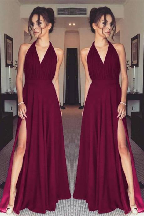 Deep V Neck Halter Chiffon Prom Dress Evening Dress Custom Color