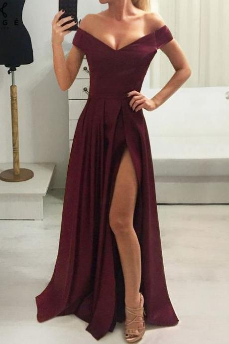 Off The Shoulder Prom Dress Evening Dress Custom Color