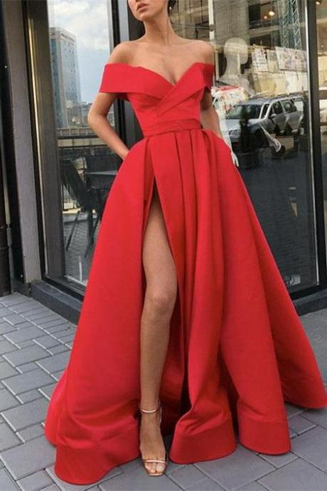 RED Off The Shoulder Prom Dress Evening Dress Custom Color