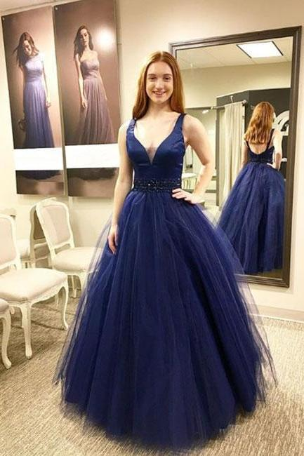 V Neck Ball Gown Prom Dress Evening Dress Custom Color