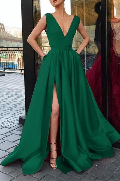 V Neck Chiffon Prom Dress Evening Dress Custom Color