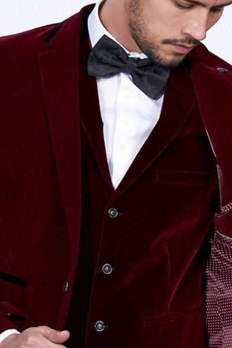 Burgundy Velvet Men Suits Slim Fit 3 Piece Blazer Tailor Made Wine Red Groom Prom Party Tuxedo Jacket Pants Vest