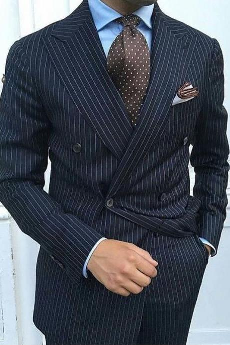 Navy Blue Pinstripe Formal Wedding Men Suits Double Breasted Peaked Lapel Groom Tuxedos Two Piece Jacket Pants Blazer