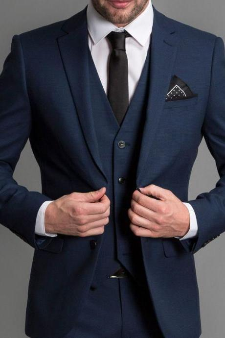 Navy Blue Formal Wedding Men Suits New Three Piece Notched Lapel Custom Made Business Groom Wedding Tuxedos (Jacket + Pants + Vest)