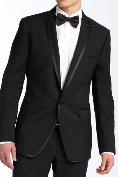 Black Wedding Groom Tuxedo for Men Suits Two Piece Jacket Pants Peaked Lapel Costume Tailor Made Blazer