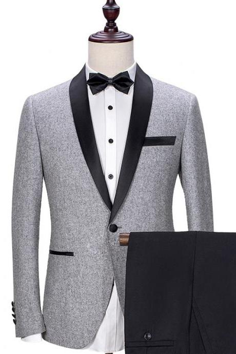 Gray Wedding Formal Men Suits Black Shawl Lapel One Button Groom Tuxedos Two Piece Jacket Pants New