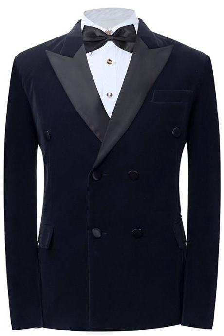 Navy Velvet Formal Wedding Men Suits Black Peaked Lapel Double Breasted Two Piece Wedding Tuxedos (Jacket + Black Pants )