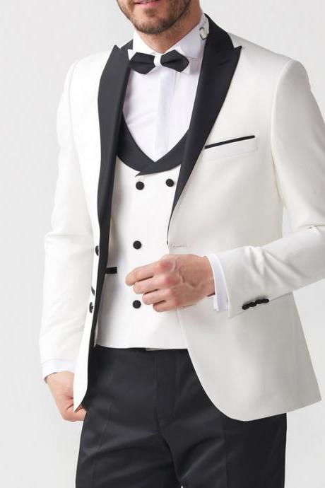 Three Piece Groom Tuxedos for Wedding Evening Party Men Suits Ivory and Black Blazer Formal Latest Style Jacket Pants Vest