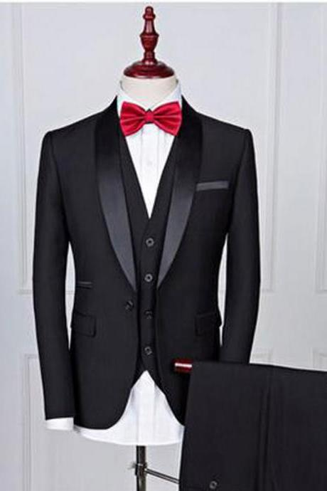 Black Wedding Tuxedos for Groomsmen Shawl Lapel One Button Three Piece Custom Made Men Suits (Jacket + Pants + Vest)
