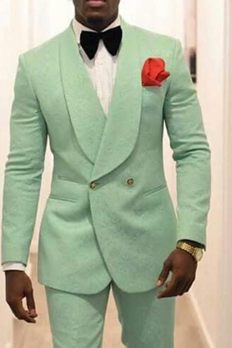 Mint Green Men Groom Tuxedos for Wedding Suit Shawl Lapel Two Piece Jacket Pants Formal Man Blazer Latest Style