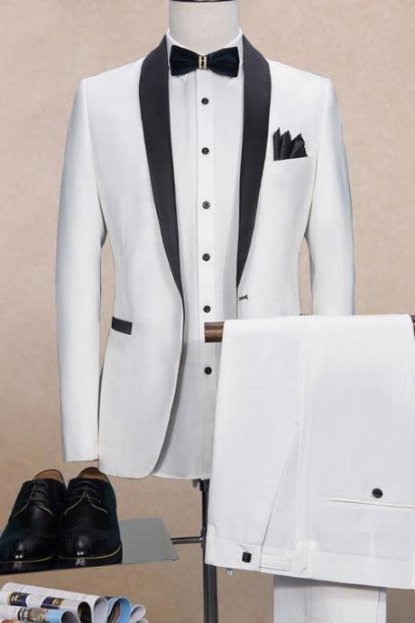 White Wedding Men Suits Black Shawl Lapel Two Piece One Button Single Breasted Wedding Groom Tuxedos (Jacket + Pants)