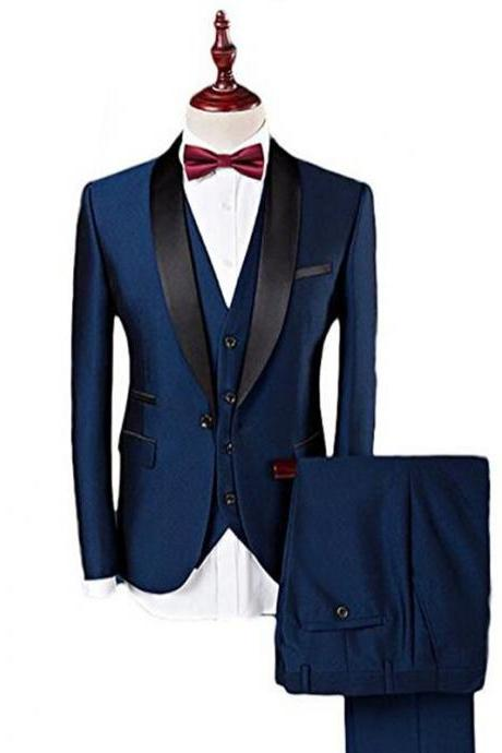 Navy Blue Formal Wedding Groomsmen Tuxedos Three Piece Shawl Lapel Custom Made Business Men Suits (Jacket + Pants + Vest )