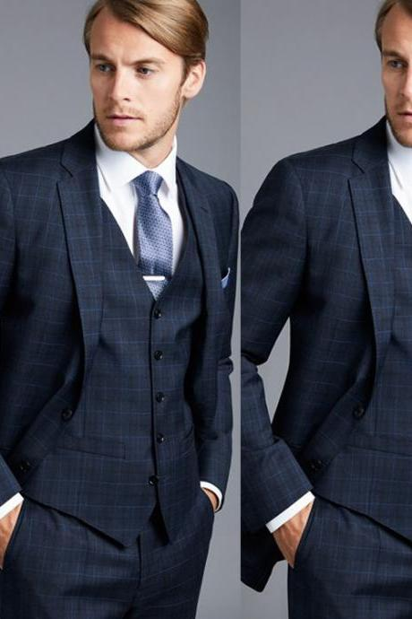Formal Plaid Men Blazer Groomsmen Wedding Tuxedos 2 Pieces (Jacket+Pants) Custom Made Slim Fit Prom Suits