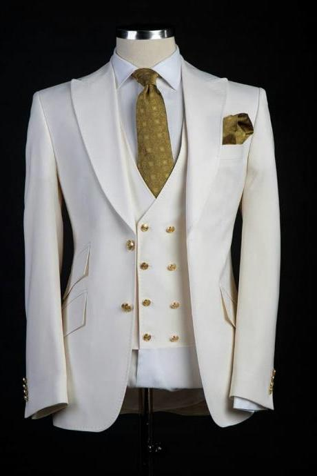 Classic style Groom Tuxedos Big Pesked Lapel Groomsman Suit White Blazer as Wedding suit Custom Made Man Suit Jacket+pants+vest