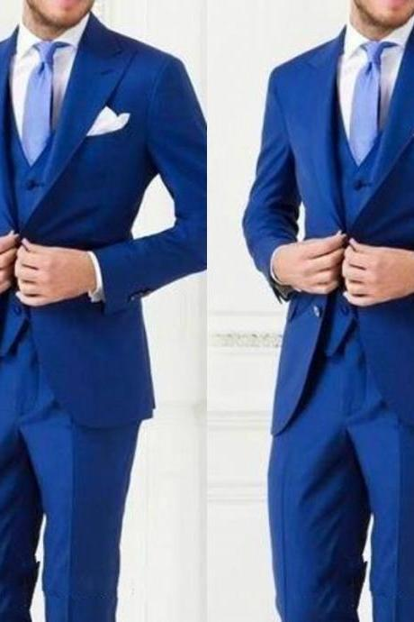 Custom Made Men Suit Bestmen Groom Tuxedos Formal Suits Business Men Wear(Jacket+Pants+Tie+Vest) New Arrival