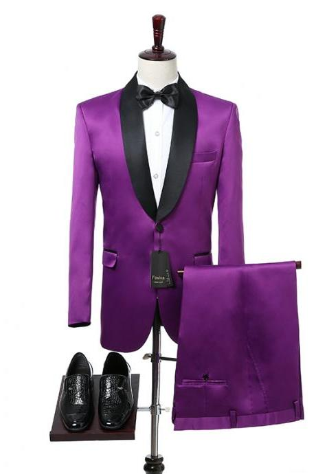 Purple Wedding Mens Suits Black Shawl Lapel One Button Slim Fit Wedding Tuxedos for Groom Two Piece Jacket Pants Foviva Style