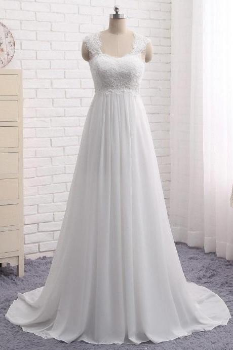 New White/Ivory Cap Shoulder Long Sweep Train Chiffon Wedding Dresses Bridal Gown Custom Plus Size Formal Occasion Party