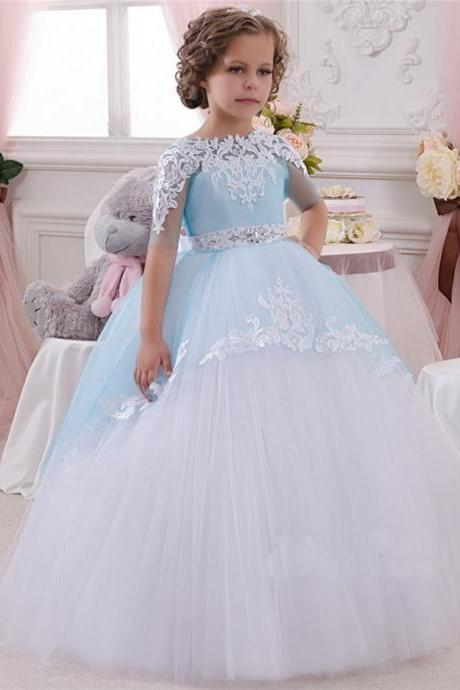 New Lace Applique Flower Girl Dress Half Sleeve Round Neck Crystal Boeknot Floor Length Ball Gown