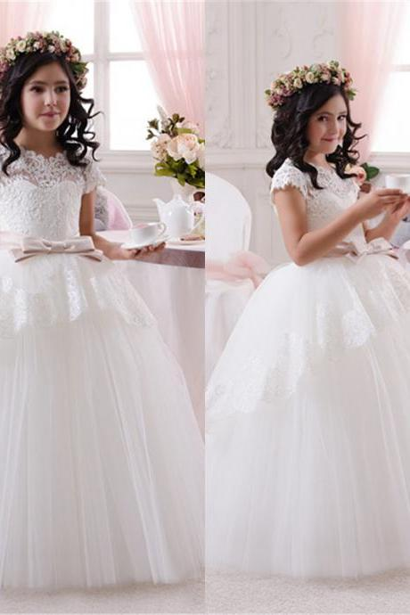 2016 Junior Bridesmaid Dress, Lace Applique Flower Girl Dress, A line Puffy dress floor length