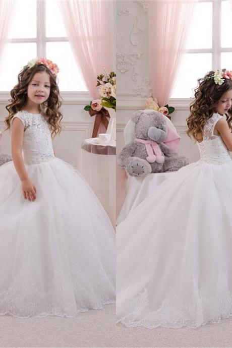 Gorgeous Lace and Tulle Flower Girl Dress Floor Length Applique Crystal Aline Dresses
