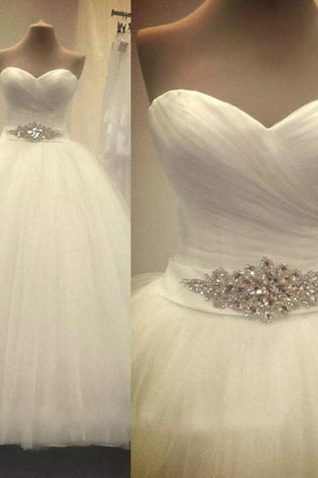 Custom White/Ivory Strapless Tulle Full Length Wedding Dress Bridal Gown L37