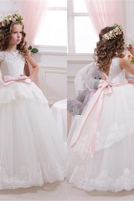 Gorgeous Lace Flower Girl Dress Floor Length Applique Aline Party Pageant Birthday Dresses