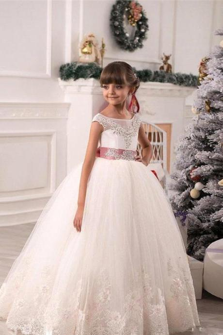 Junior Bridesmaid Dress Baby Girl Lace Applique Flower Girl Dress, A line floor length Crystal Bowknot Dress