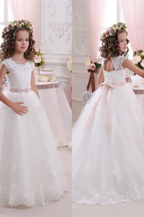 Lace Tulle Applique ctystal Sequine Bowknot belt Floor length wedding party Flower Girl Dresses