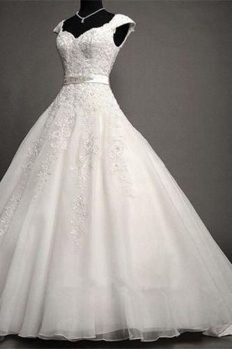 Custom White/Ivory Cap Shoulder lace Applique Full Length Wedding Dress Bridal Gown L48