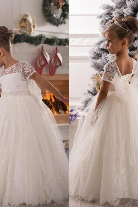 Lace Tulle Applique Bowknot belt Floor length wedding party Dance Dress Flower Girl Dresses AS1