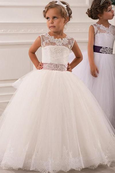 Wedding Party Dance Pageant Junior Bridesmaid Dress flower girl dress Lace applique dress