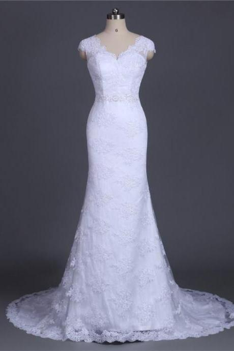 V-Neck Lace Appliques Mermaid Wedding Dress with Cap Sleeves and Sheer Back