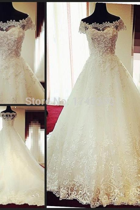 Wonderful Design Boat Neck Cap Sleeve Ball Gown Bridal Dress Gown 2016 Appliques Sparkly Luxury Wedding Dresses Vestido de Festa L102