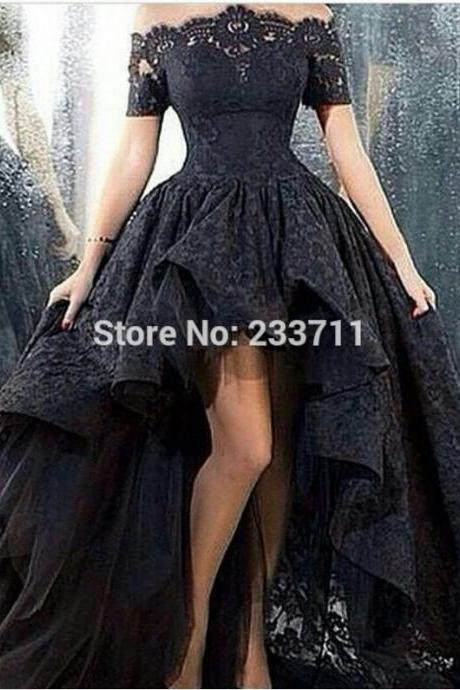 harming Marsala Boat Neck Corset Ball Gown Black High Low Lace Long Prom Dresses 2016 Zipper-Up Court Train L103
