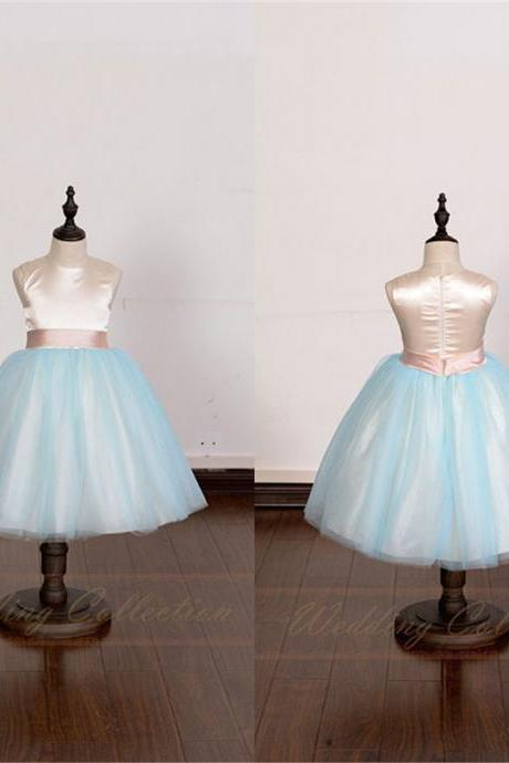 Champagne Flower Gril Dress With Blush Waistband and Blue Tulle Skirt W9